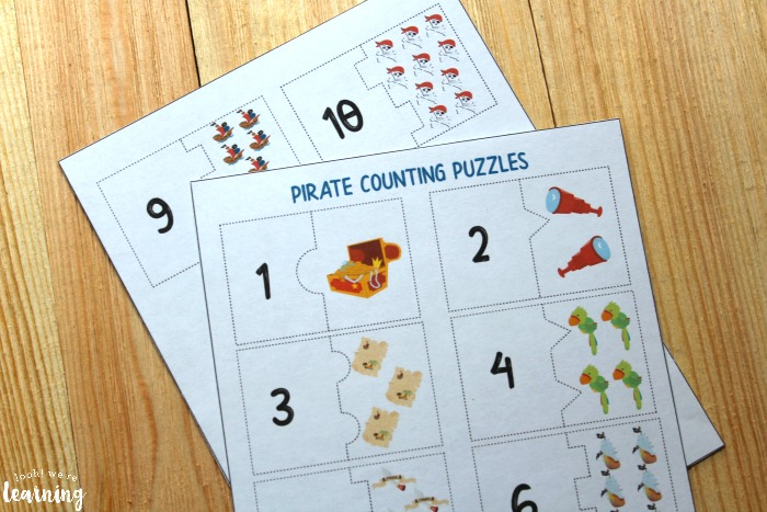 Pirate 1-10 Counting Puzzles for Kids