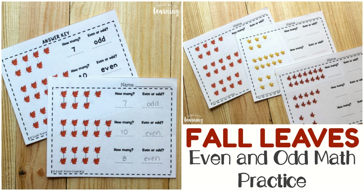 Fall Even And Odd For Second Grade Printables - Look! We're Learning!