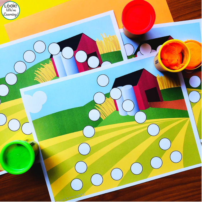 Printable Farm Themed Shape Mats for Preschool