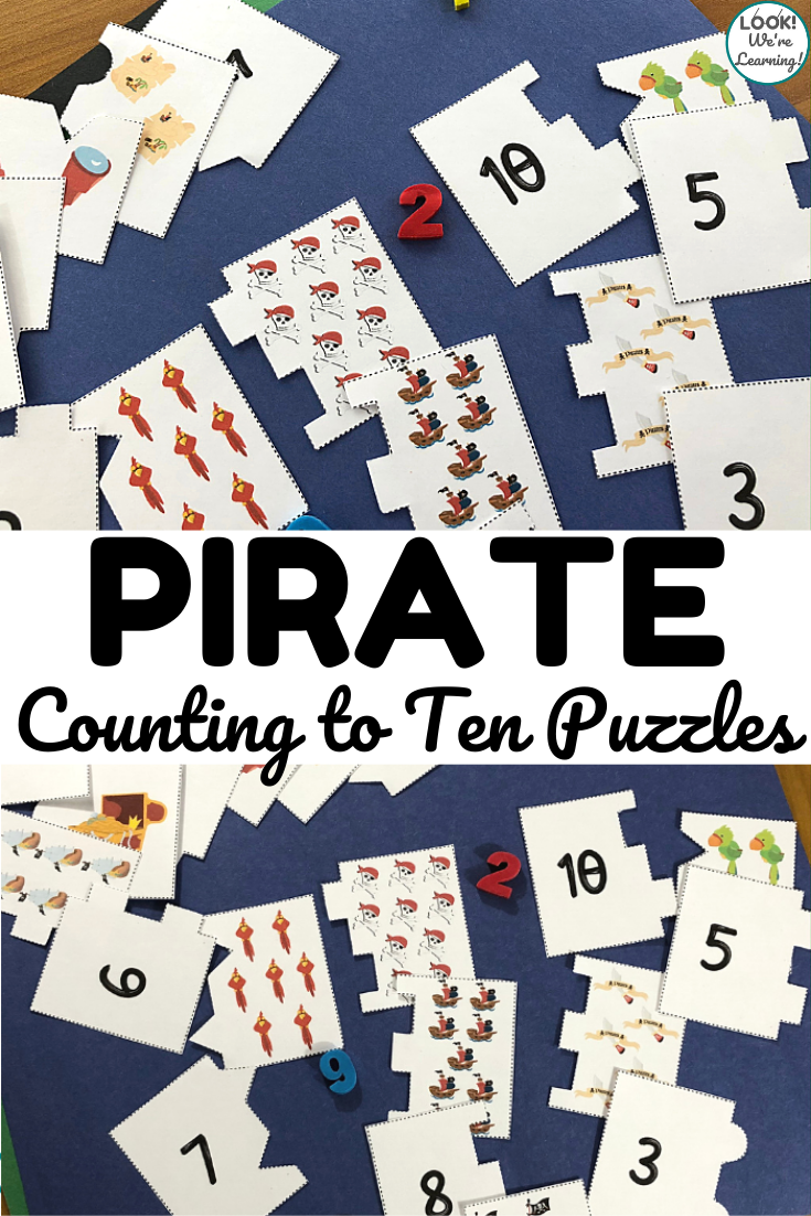 Use these fun pirate themed counting to ten puzzles to help early learners practice cardinality!
