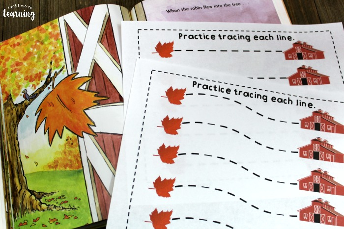 When the Leaf Blew In Line Tracing Activity