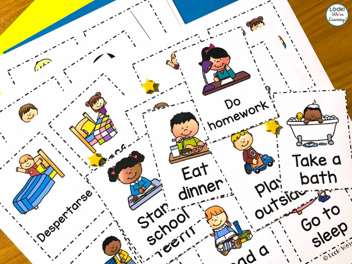 English and Spanish Kids Routine Printables