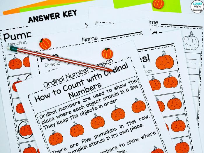 Fun Pumpkin Themed Ordinal Number Worksheets for Kindergarten