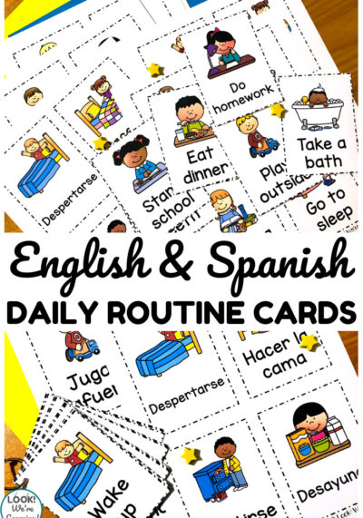 Help early learners build a daily routine with these English and Spanish daily routine cards!