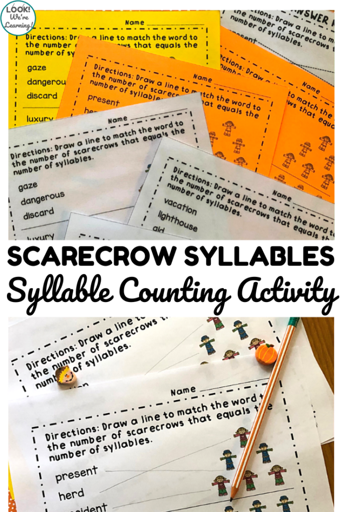 Help students learn to count syllables in vocabulary words with this scarecrow themed syllable counting activity!