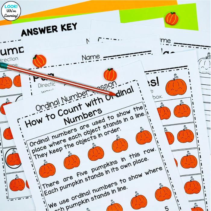 Kindergarten Ordinal Number Lesson for Fall