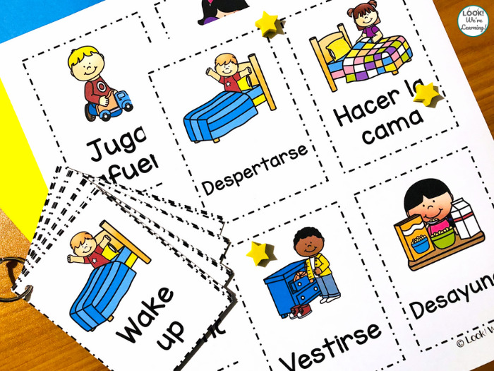 Learning about our Daily Routine in English and Spanish