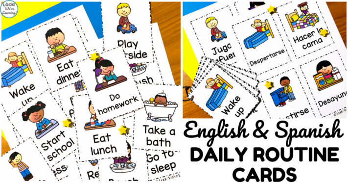 Simple English and Spanish Daily Routine Cards