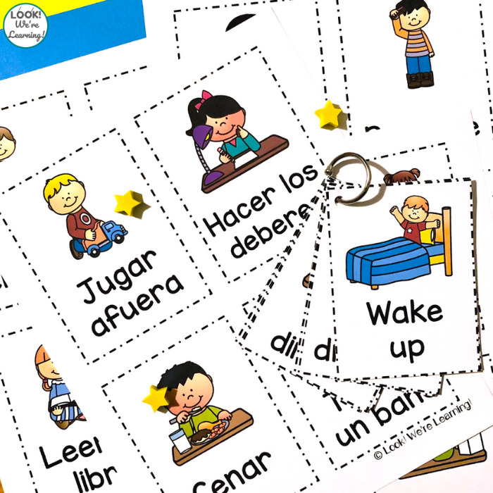 Spanish and English Daily Routine Cards
