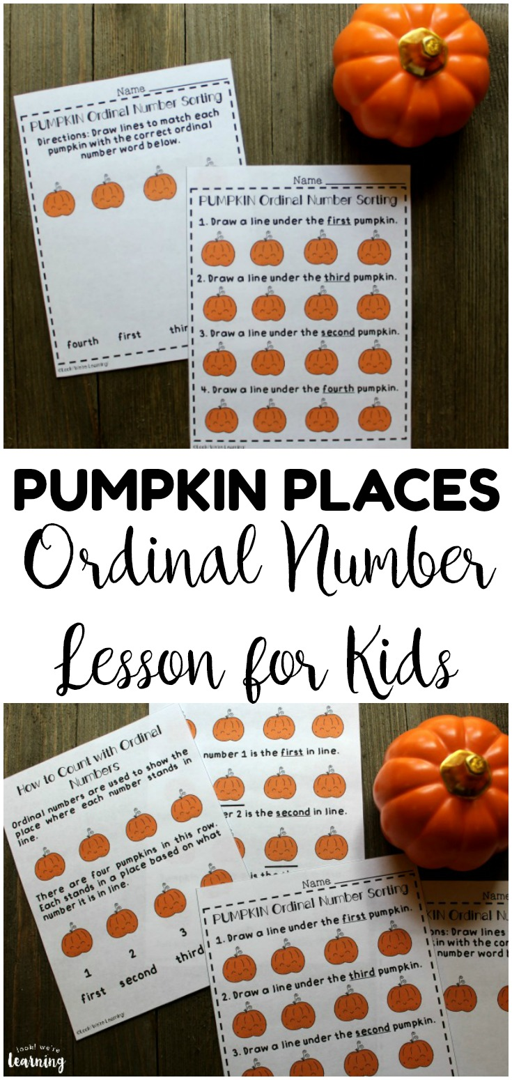 Teach early learners how to use ordinal numbers with this no prep pumpkin places ordinal number lesson for kids! Perfect for early math skill building!