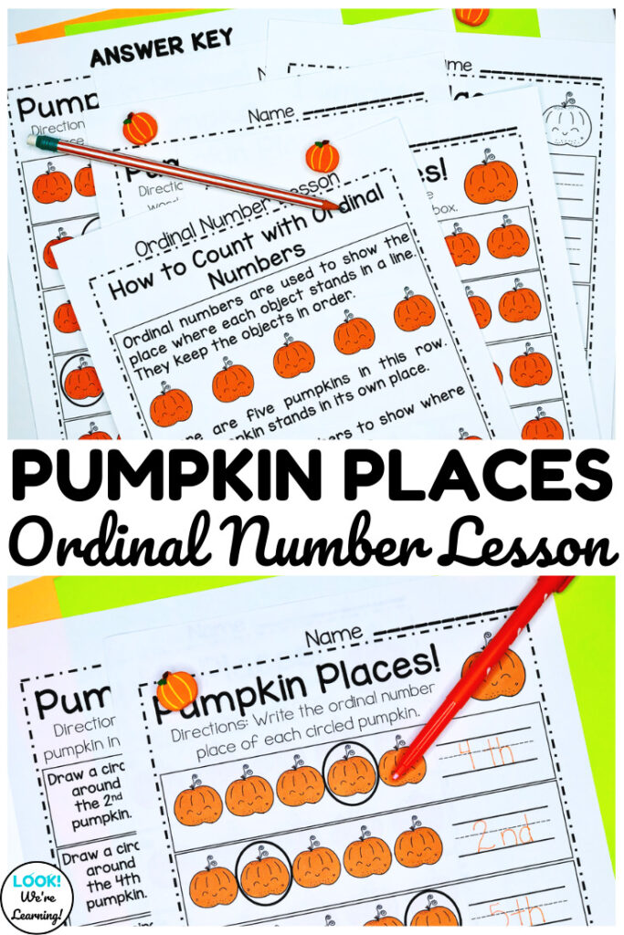 This pumpkin themed kindergarten ordinal number lesson is perfect for teaching early learners!