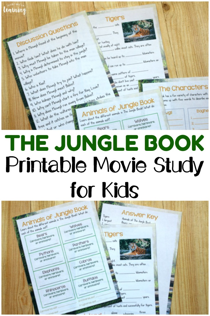 Make a movie into a learning experience with this printable The Jungle Book movie study for kids!