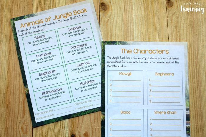 Printable The Jungle Book Movie Study for Kids