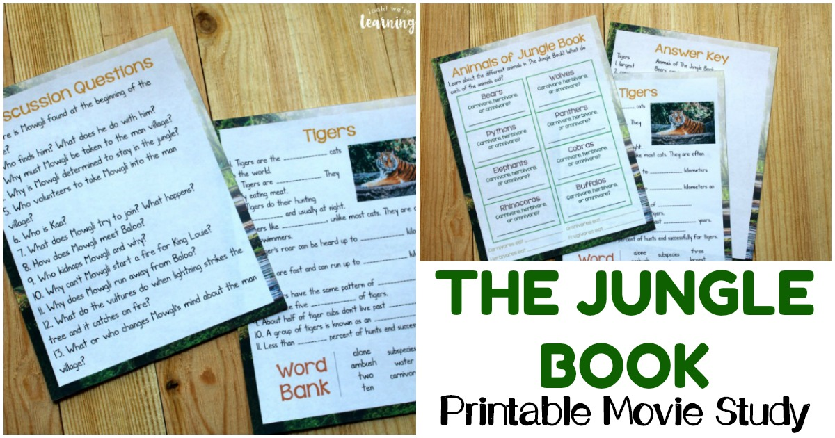The Jungle Book Printable Movie Study Activity for Kids