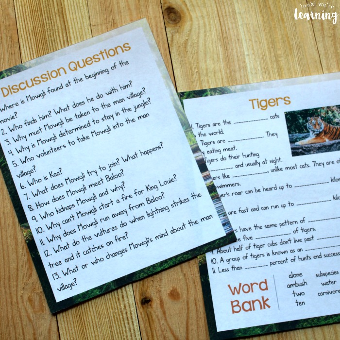 The Jungle Book Printable Movie Study Activity