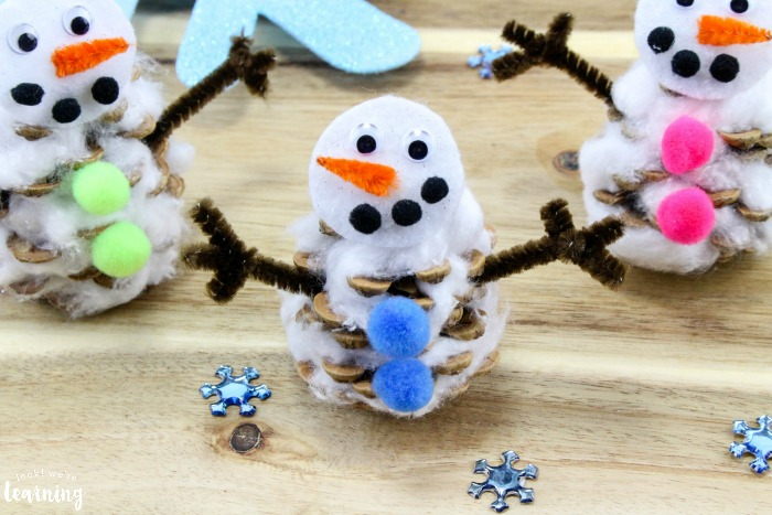 Cute Pinecone Snowman Craft for Kids