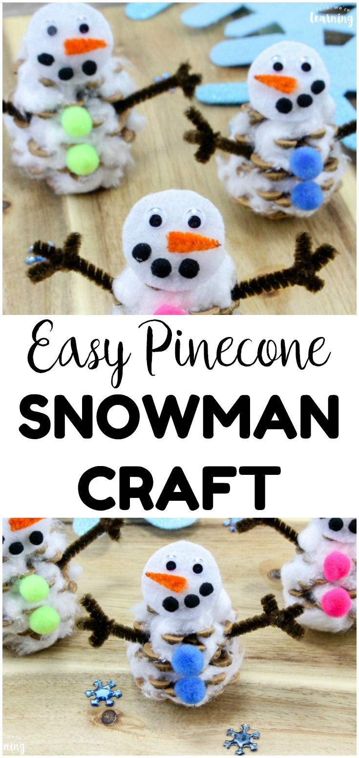 Get into the winter mood with this easy pinecone snowman craft for kids! Great for indoor winter crafts this season!