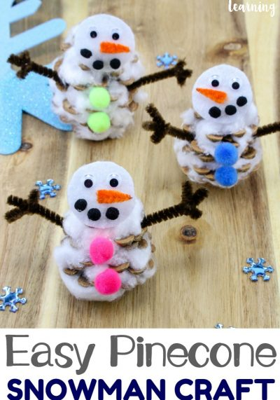 Make an adorable winter craft project this year with this super easy pinecone snowman craft for kids! Little ones will love it!