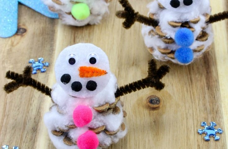 Easy Pinecone Snowman Craft for Kids