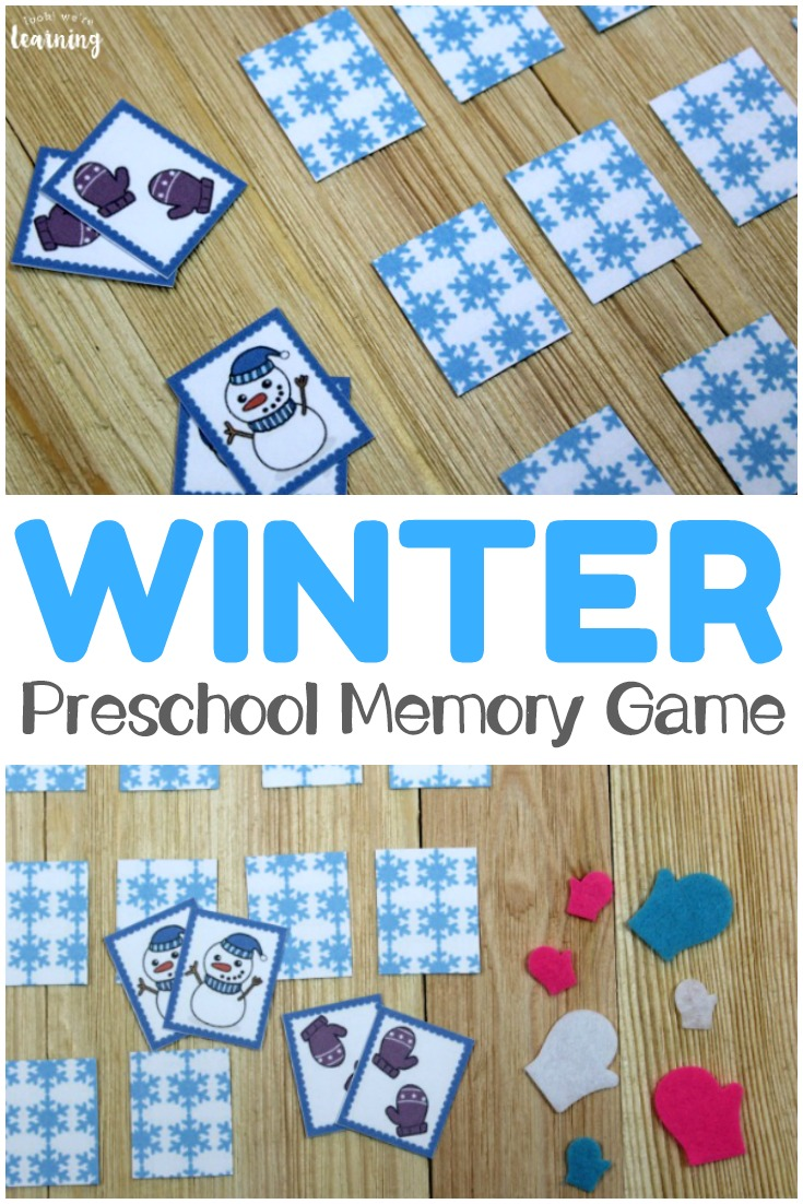 Make winter a season of play with this fun winter themed preschool memory game for kids!