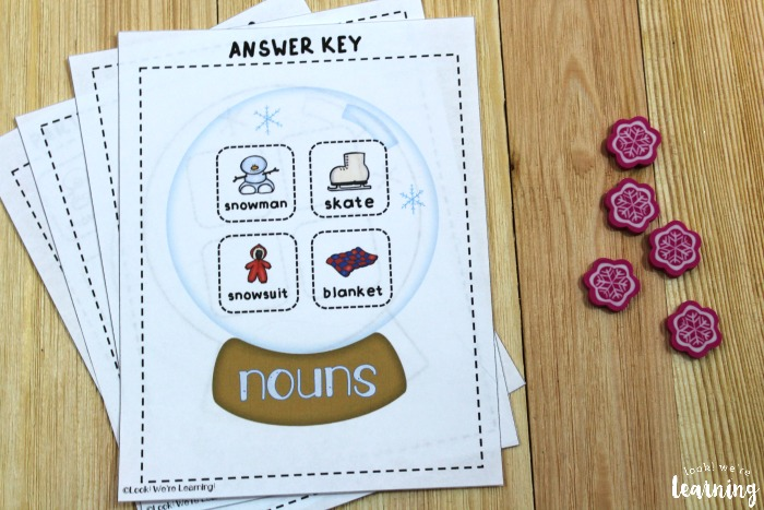 Parts of Speech Sorting Activity Answer Key