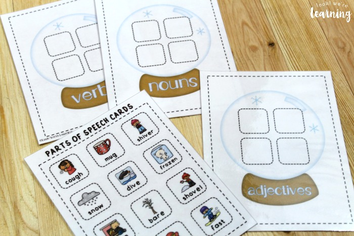 Winter Parts of Speech Sorting Game