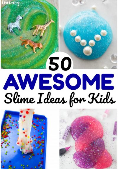 Bust boredom and get some sensory play with this list of 50 awesome slime recipes for kids to make!