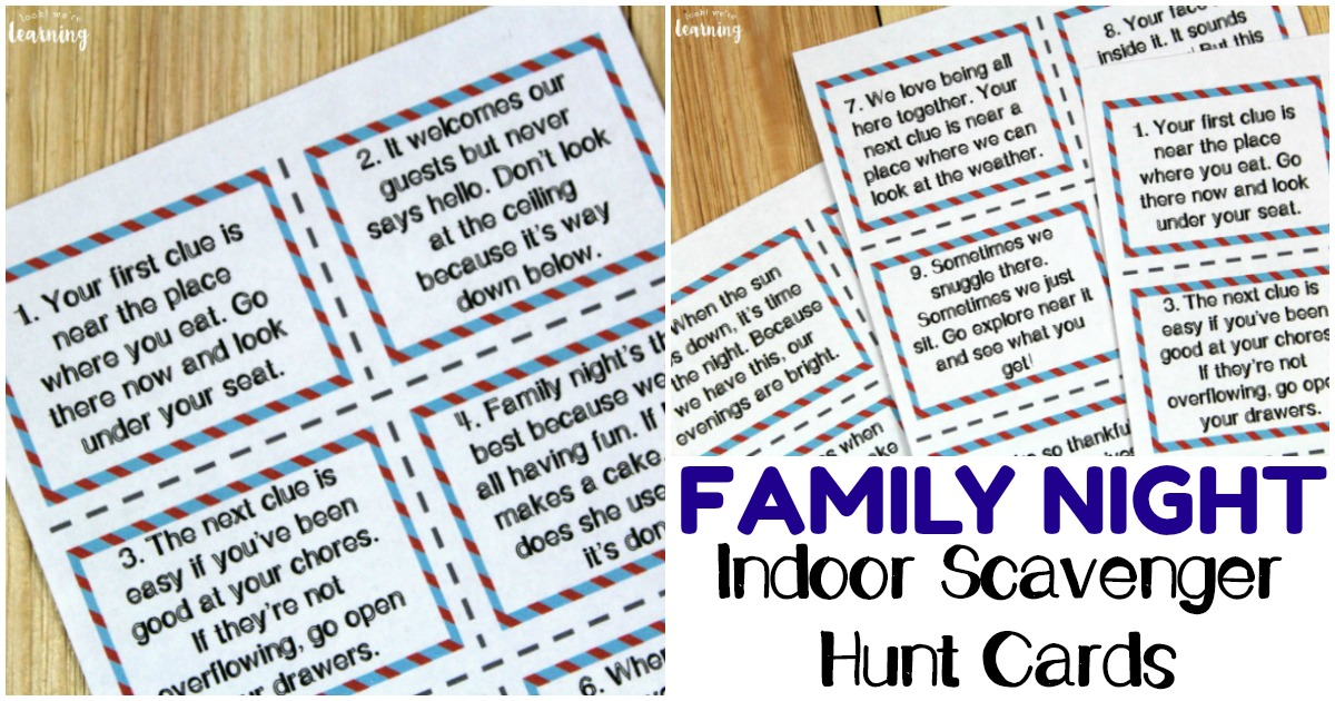 photo regarding Clue Cards Printable identify Printable Indoor Family members Night time Scavenger Hunt Playing cards - Overall look