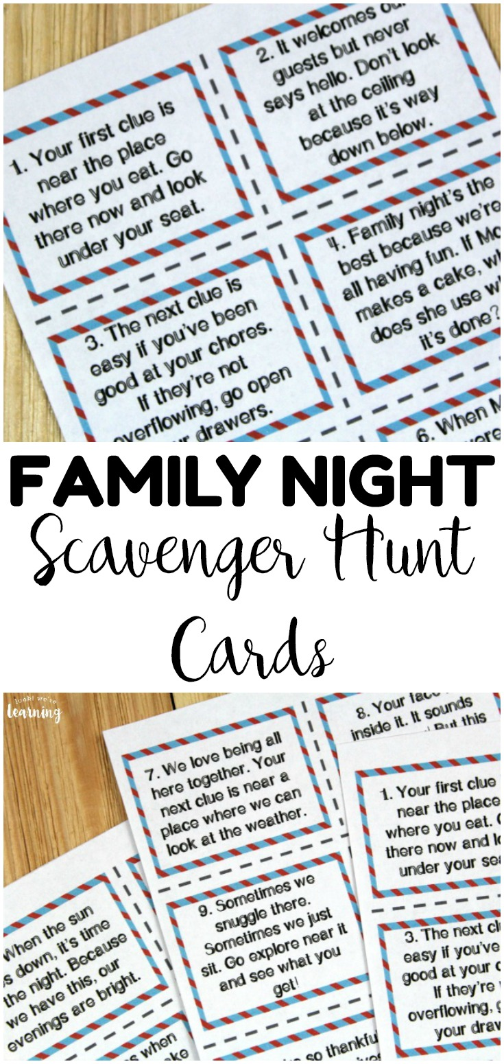 Have a memorable family night with these fun family night indoor scavenger hunt cards! A great way to spend time together as a family!