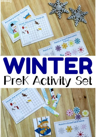 Pick up this printable winter preschool activity set to help little ones practice symmetry, shape matching, and more! Perfect for winter preschool lessons!