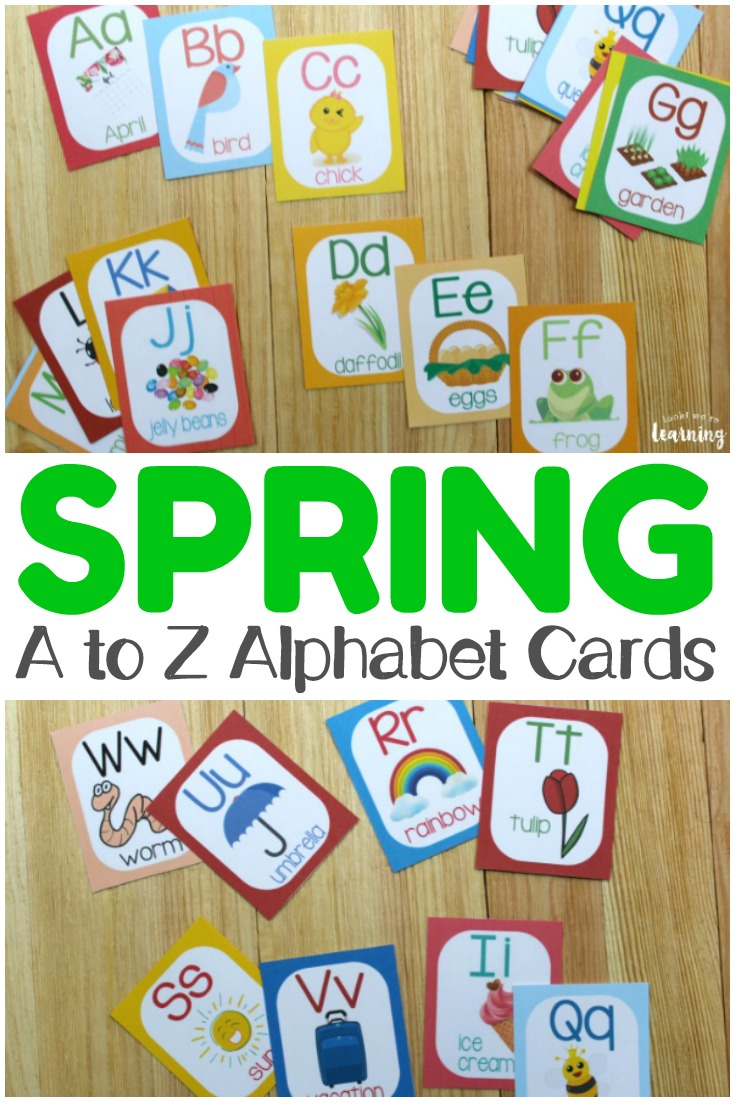 Help early learners recognize letters of the alphabet with these printable spring A to Z alphabet flashcards! So fun for spring learning!