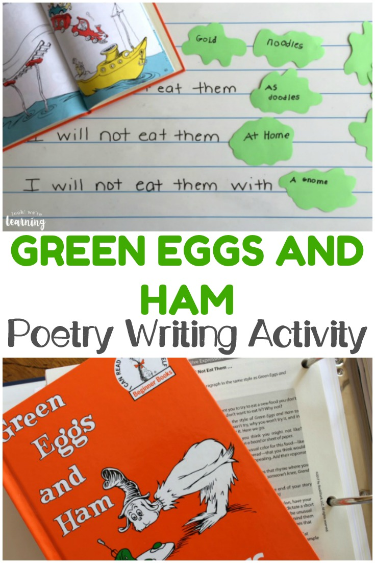 Help your early learner practice rhyming and creative writing with this simple Green Eggs and Ham Poetry Activity!