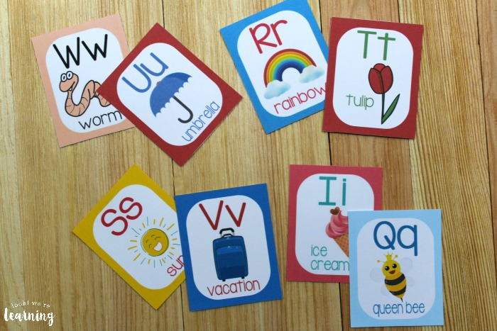 Printable Spring A to Z Alphabet Word Flashcards