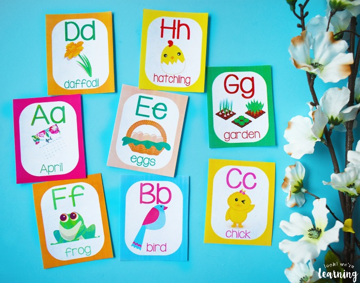 Printable Spring Themed A to Z Cards for Kids