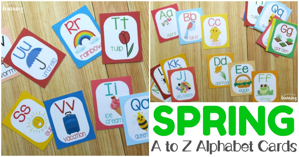 Printable Spring Themed A to Z Alphabet Flashcards
