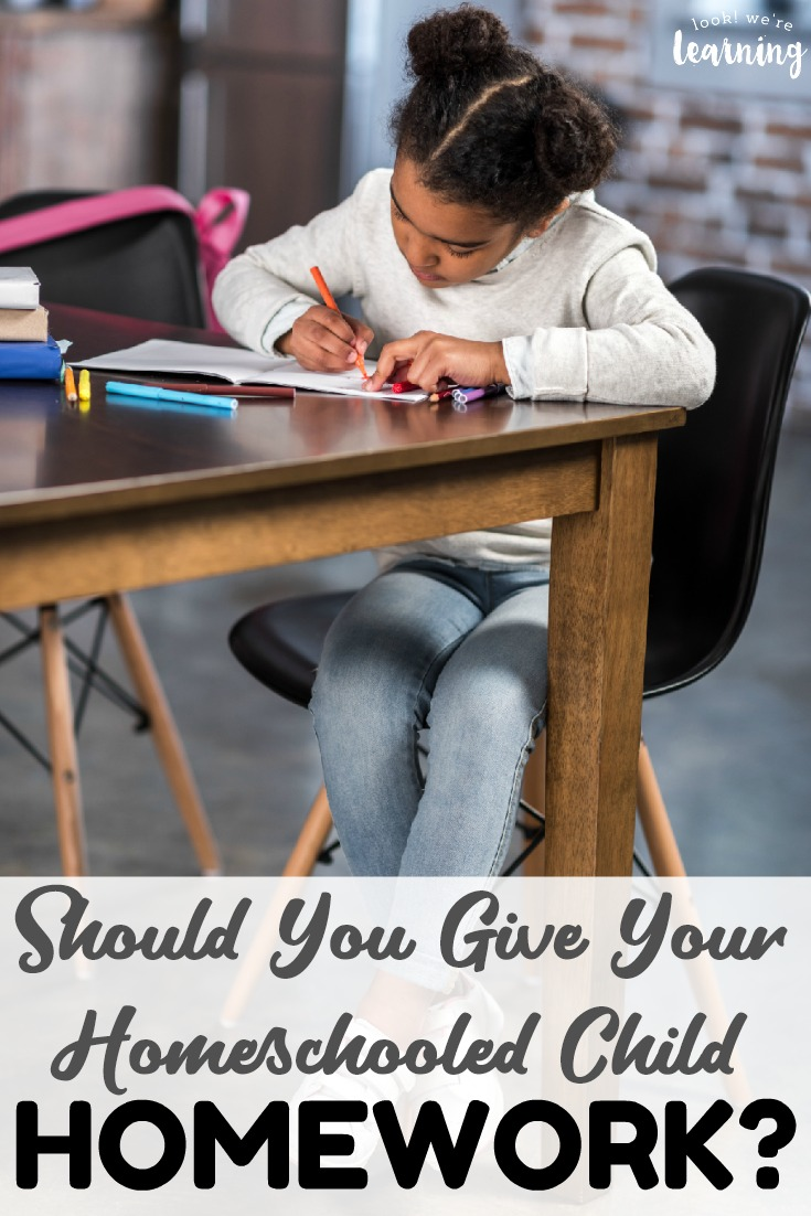 Should you assign homeschool homework to your child? See why homework may or may not be a good idea for your homeschool.