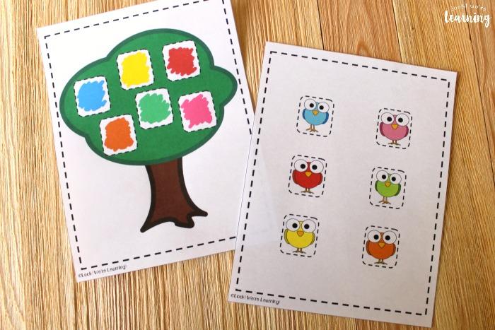 Printable Bird Color Matching Activity
