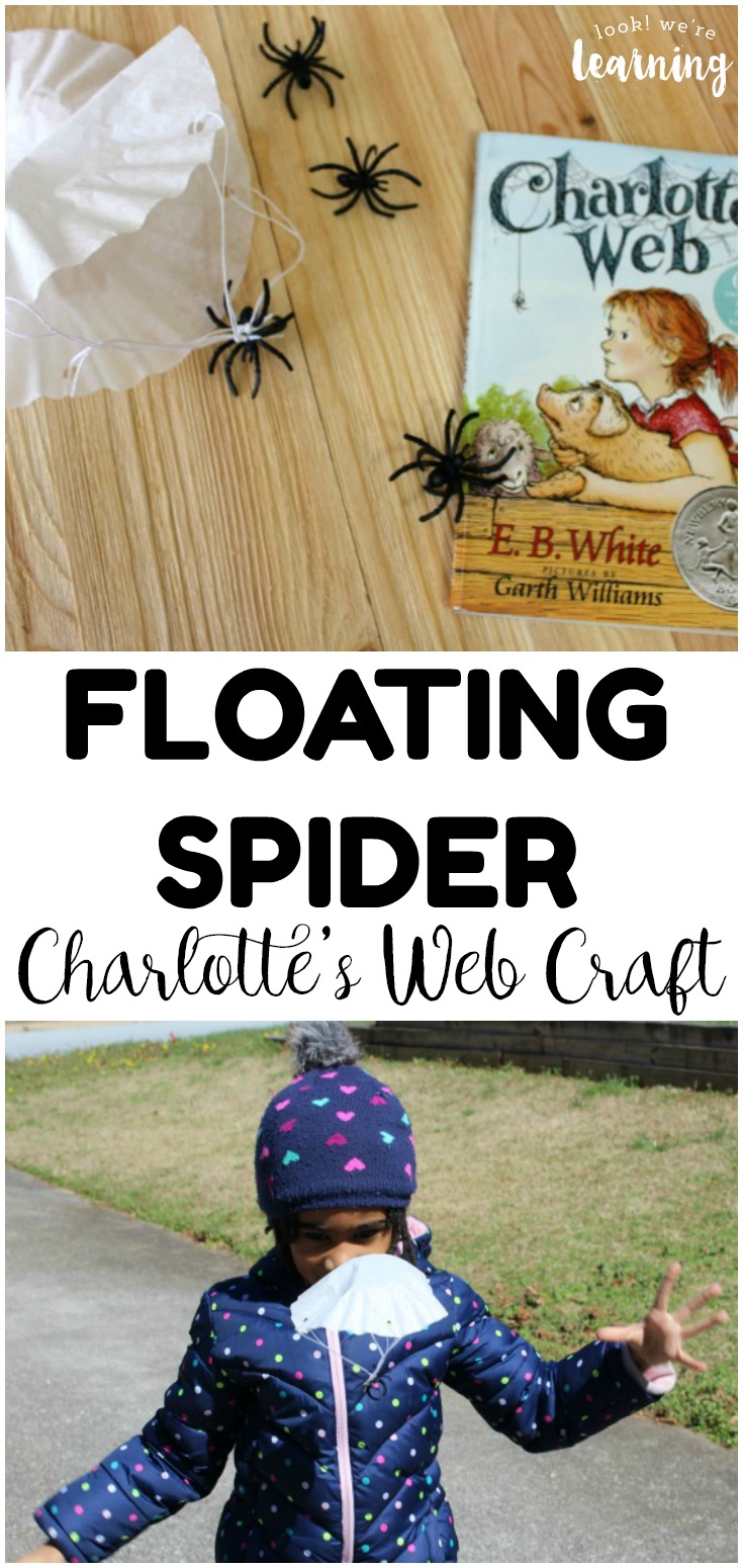 Turn a classic story into a craft with this simple floating spider Charlotte's Web craft for kids! So fun for read-aloud time!