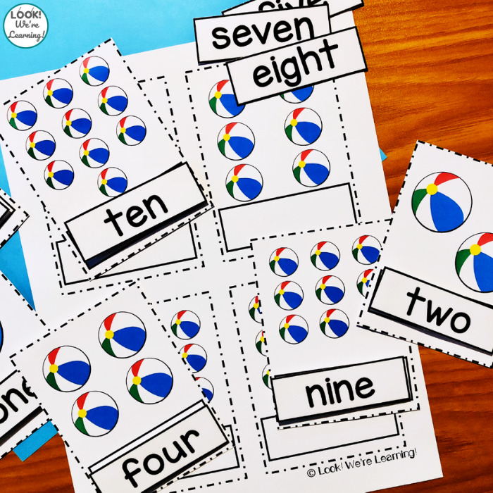 Beach Ball Counting Cards for Preschool