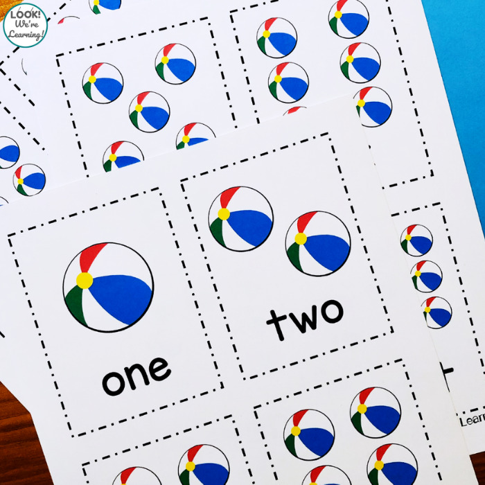 Beach Ball Counting Flashcards for Early Learners