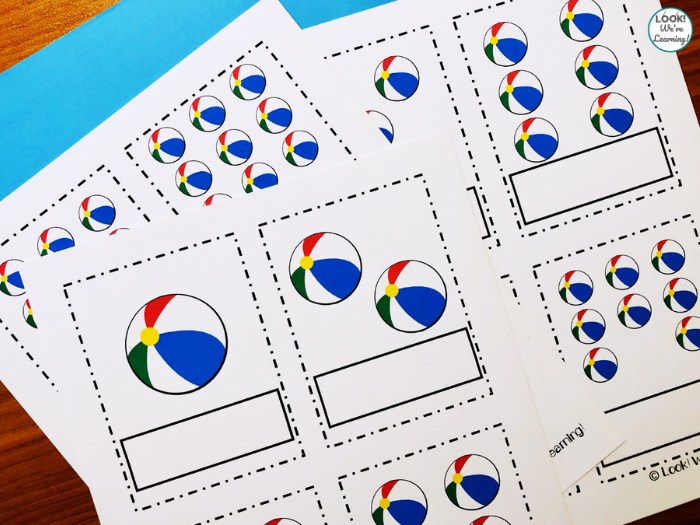 Beach Ball Counting Flashcards for Kids