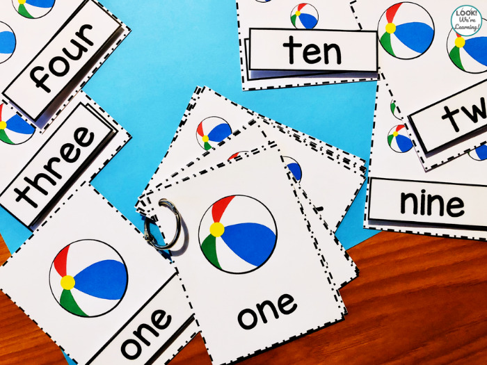 Beach Ball Counting to Ten Flashcards