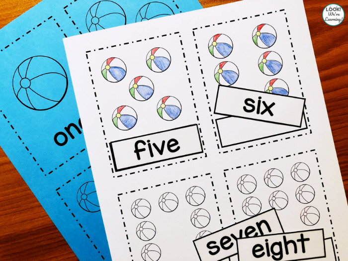 Counting to Ten Beach Flashcards