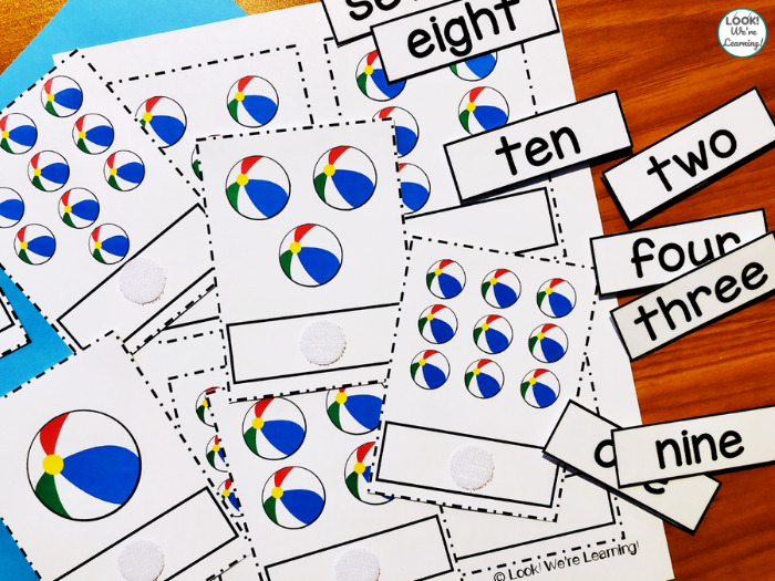 Counting to Ten Learning Cards for Kids
