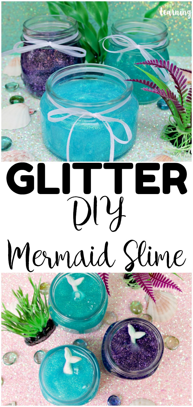 Make up a batch of this DIY Glitter Mermaid Slime for some ocean-themed sensory play! Perfect for summer sensory fun!
