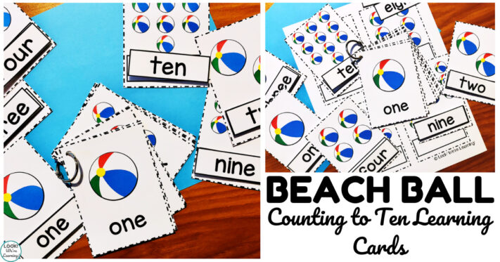 Printable Beach Ball Counting to Ten Cards