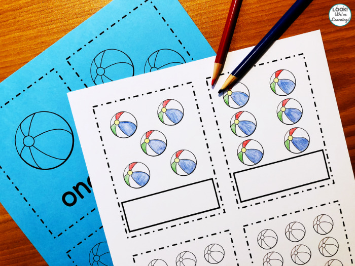 Printable Beach Counting Flashcards
