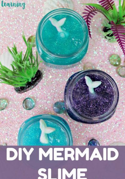 This gorgeous glitter mermaid slime is so fun for sensory play with the kids!