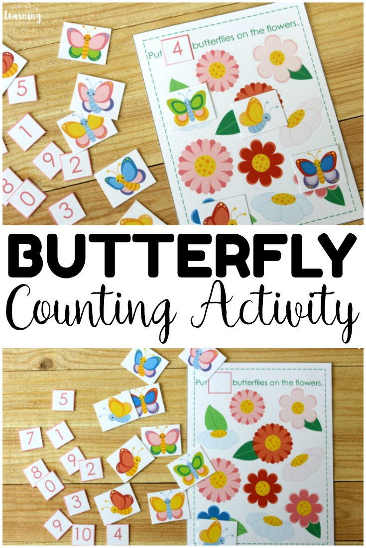 This printable butterfly counting activity is a fun way to help early learners practice counting to ten this year!
