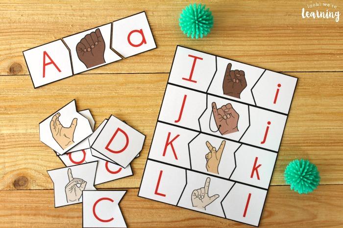 ASL Alphabet Letter Matching Puzzles